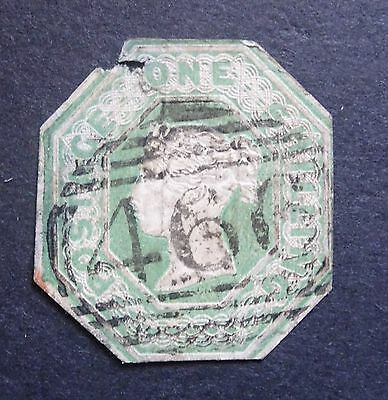 SG59, Embossed 1s green, cut to shape, 466 Liverpool cancel, spacefiller (1497)