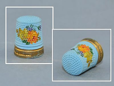 Antique Hand Painted Blue Thimble 19 Century