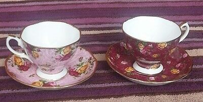 Royal albert old country roses cup & saucer sets dusky pink rose & ruby lace