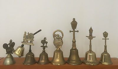 7 Vintage Metal / Brass Bells From England