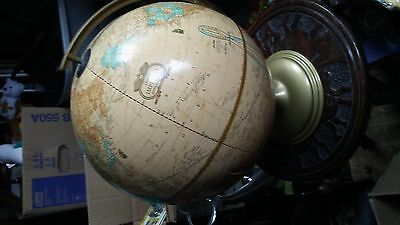 "Vintage 12"" Cram's Imperial World Globe Raised Relief Nice Colors Metal Frame"