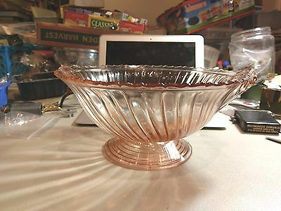 "Vintage Jeannette Pink Depression Glass Petal Swirl 10"" Closed handle Bowl  RARE"