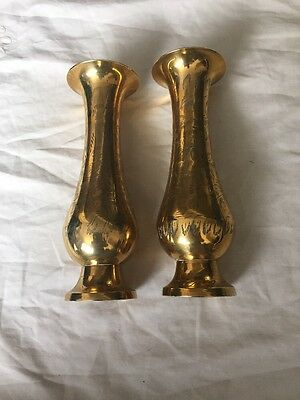 Small Brass Engraved Vases