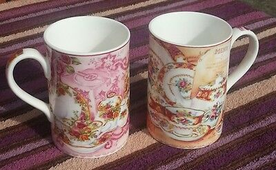 Royal albert afternoon tea pair of 2 tall cups old country roses & lady carlyle