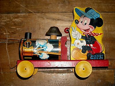 Vintage Fisher Price Mickey Mouse Choo-Choo #485 Pull Toy 1940s