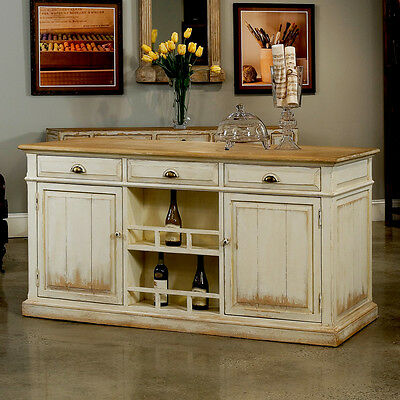 """71""""L  French Country White Kitchen Island w/Solid Wood Top,Sideboard/Buffet"""
