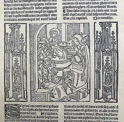 1488 INCUNABULA WOODCUT LEAF Vitae Christie - CHRIST IN TEMPLE - DELFT MASTER