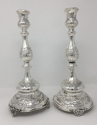 "13.5"" high Pair of Candlesticks - Flower Design - Sterling Silver 925 - 636 gram"