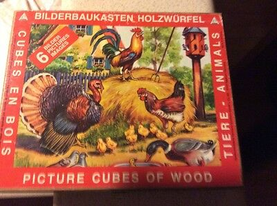 Old German Paper Lithograph Picture Puzzle Blocks in Box - Cat Dog Rooster +