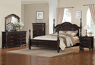 5pcs Traditional Cherry Brown King Size Poster Bedroom Set Furniture NEW - IA5O
