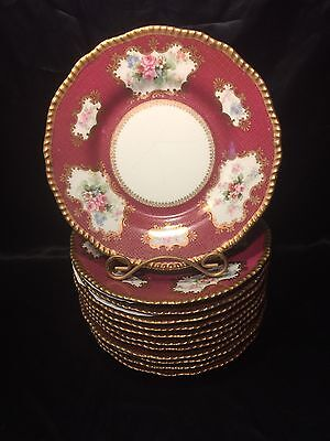"Set of 12 Delinieres (D & Co) Limoges 9 1/2"" Dinner Plates - Pink Gold Floral"