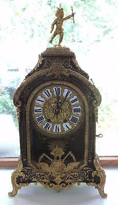 Original Antique Boulle Work 8 Day Mantel Clock Shell & Ormolu Inlay Glass Front