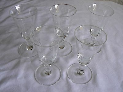 5 Engraved Sherry Glasses