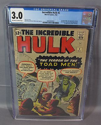 THE INCREDIBLE HULK #2 (Green Hulk 1st app.) CGC 3.0 Marvel Comics 1962 cbcs