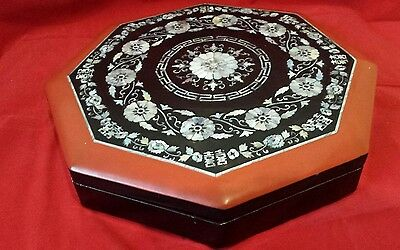 Vintage Chinese red lacquer inlaid large box with mother of pearl & shell