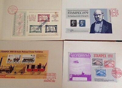 4 Stampex Exhibition Sheets 1975, 1979, 1980 & 1981