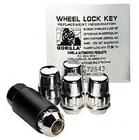 Jeep Gorilla High Security Wheel Lock Set In Chrome + 16 Acorn Chrome Nuts