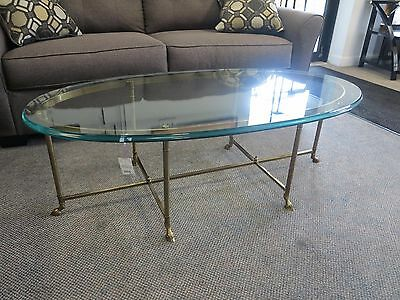 Mid century La Barge Hoof footed coffee table brass glass Hollywood regency 1960