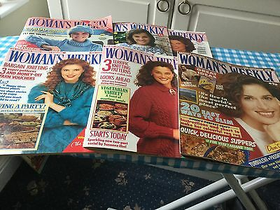 6 X Vintage Womans Weekly Mags - Thunderbirds Sweater - Great Cakes & Knitting