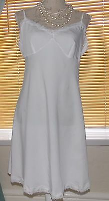 Classic White Full Slip Soft Heavy Silky Feel With Lace Hem & Bust Size 16 UK