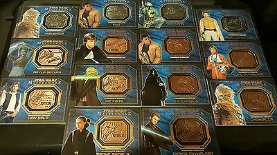 Topps Star Wars Masterwork Lot of 14 Silver and Bronze Medallions