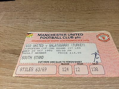 Manchester United 3 Galatasaray 3 Uefa Champions League Qualifier-1993-4 Ticket