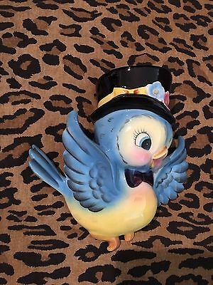 Lefton Mr. Bluebird Wall Pocket w/Top Hat, Hand Painted, ESD Japan 6917