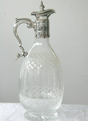 Vintage victorian fine etched glass and silver plated claret jug