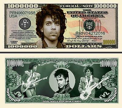 In Memory Of Prince 1 Million Dollar Bank Note Brand New