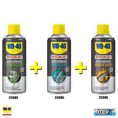 WD40 Specialist Motorcycle Chain Cleaner, Chain Lube & Chain Wax 200ml