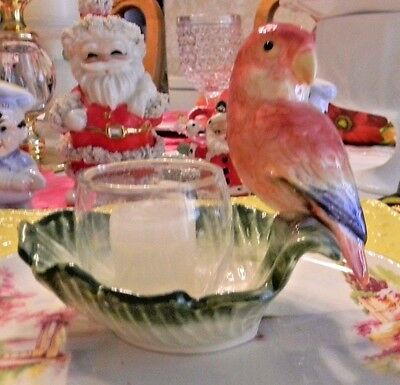 Vintage Fitz and Floyd Parrot Bird Leaf Candle Holder 1986 Golden Girls Decor