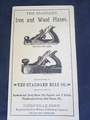 Standard Rule Co Iron & Wood Planes Catalog Antique Tool Pamhlet Book