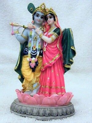 INDIAN HINDU GOD KRISHNA WITH RADHA ON LOTUS STATUE/ MURTI (14 cm TALL)