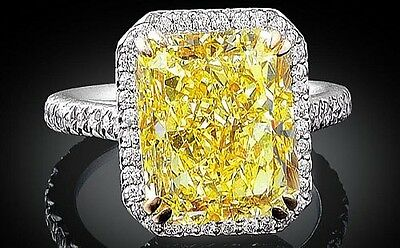 Glamour 5 Ct Fancy Yellow Canary Diamond Ring, Luxury Halo, 925 Sterling Silver.