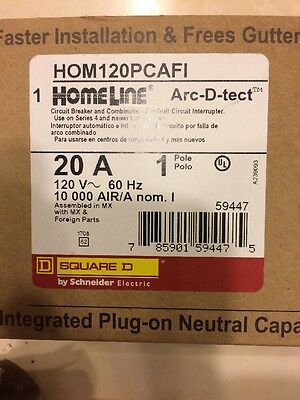 Square D Homeline 20 Amp Arc-fault Breakers Brand New In Box Lot Of 3!!
