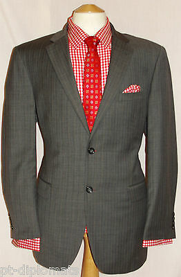 "Men's Brook Taverner Grey Stripey Designer Suit Uk 44R W38"" Xl31"""