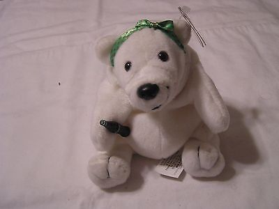 Coca Cola Polar Bear  Plush with Green and Gold Polka Dot Bow & Original Tag