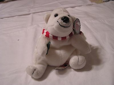 Coca Cola Polar Bear  Plush with Red & White Scarf & Original Cloth &  Paper Tag