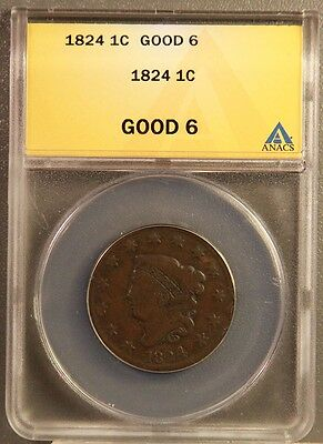 1824 1C Coronet Cents Certified ANACS GOOD6