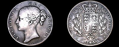 1847 Great Britain 1 Crown World Silver Coin - UK - England - Young Victoria