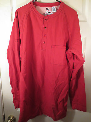 Bulwark FR IQ Series Mens Flame Resistant Red Henley Long Sleeve Shirt L-RG