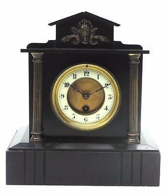 Fine Architectural French Black Slate Marble Ormolu 8Day Timepiece Mantel Clock