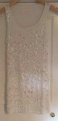 Next girls sparkly white/pink sequinned lined sleeveless party dress, age 13