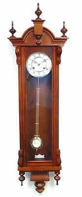 Vintage Long Slimline German Twin Springer Striking 8 Day Wall Clock By Hermle