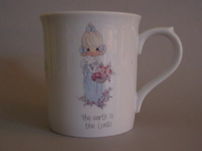 PRECIOUS MOMENTS Enesco 1 Pink White Coffee Mug 1985 EARTH IS THE LORD'S