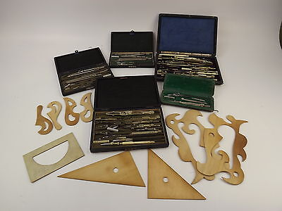 Vintage Lot Of German Drafting Tools In Cases & Wood Templates/Stencils
