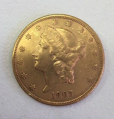 1905s GOLD UNITED STATES $ 20 LIBERTY HEAD DOUBLE EAGLE  COIN