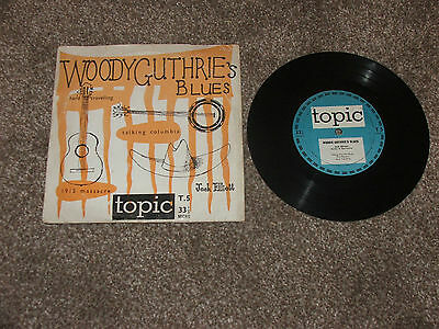 "Jack Elliot     Woody  Guthries  Blues   Rare  8"" Mini Lp    1955   Topic"