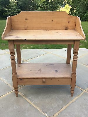 Victorian Pine Washstand With Gallery Back And Drawer