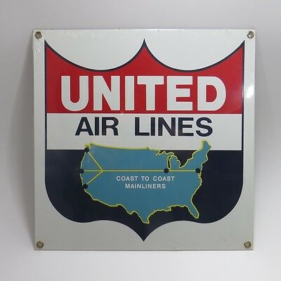 Ande Rooney Porcelain United Airlines Sign Coast to Coast Mainliners Advertising